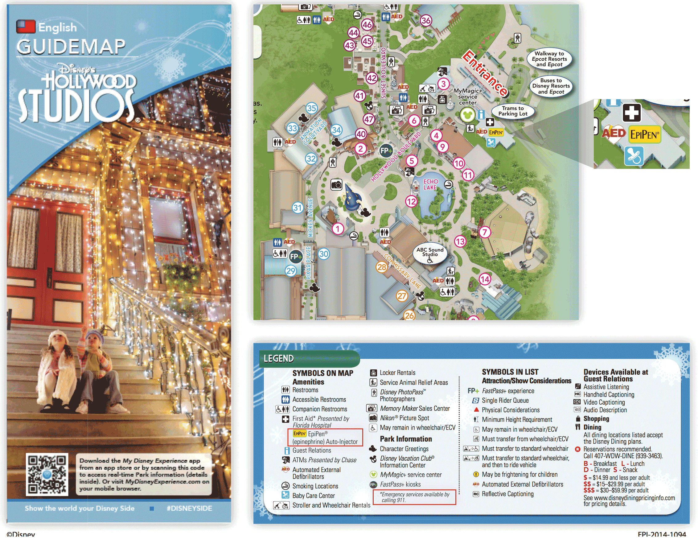 Hollywood Studios Map Sample with Epi-Pen location – Pixie Lizzie